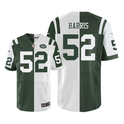 Nike Jets #52 David Harris Green/White Men's Stitched NFL Elite Split Jersey