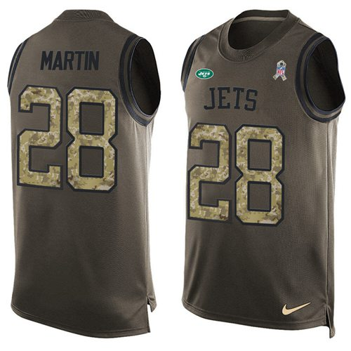 Nike Jets #28 Curtis Martin Green Men's Stitched NFL Limited Salute To Service Tank Top Jersey