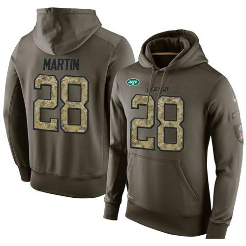 NFL Men's Nike New York Jets #28 Curtis Martin Stitched Green Olive Salute To Service KO Performance Hoodie