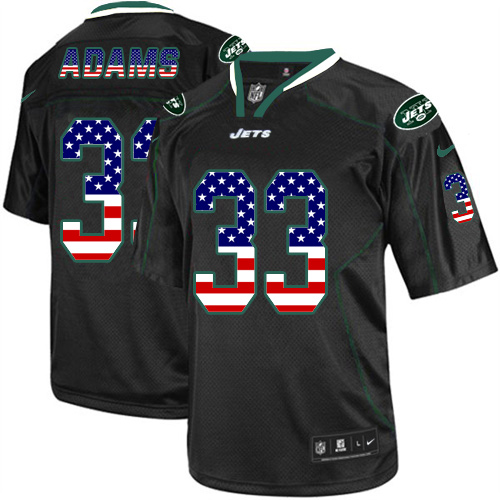 Nike Jets #33 Jamal Adams Black Men's Stitched NFL Elite USA Flag Fashion Jersey