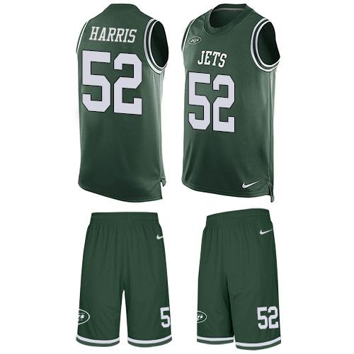 Nike Jets #52 David Harris Green Team Color Men's Stitched NFL Limited Tank Top Suit Jersey