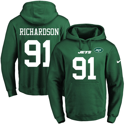 Nike Jets #91 Sheldon Richardson Green Name & Number Pullover NFL Hoodie