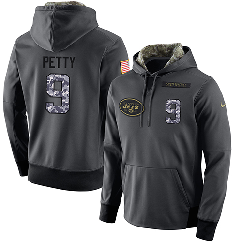 NFL Men's Nike New York Jets #9 Bryce Petty Stitched Black Anthracite Salute to Service Player Performance Hoodie