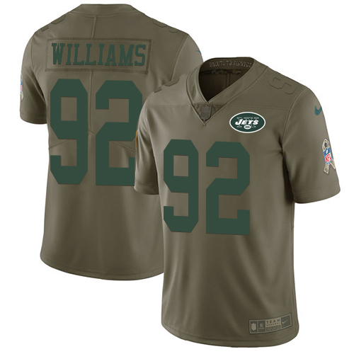 Nike Jets #92 Leonard Williams Olive Men's Stitched NFL Limited Salute to Service Jersey
