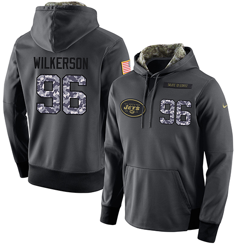 NFL Men's Nike New York Jets #96 Muhammad Wilkerson Stitched Black Anthracite Salute to Service Player Performance Hoodie