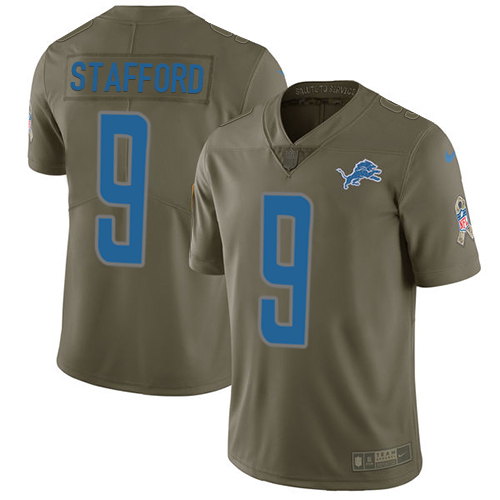 Nike Lions #9 Matthew Stafford Olive Men's Stitched NFL Limited Salute to Service Jersey