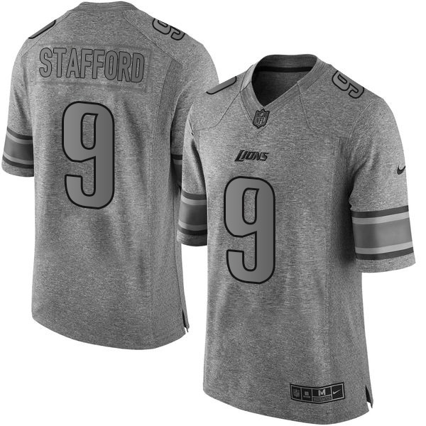 Nike Lions #9 Matthew Stafford Gray Men's Stitched NFL Limited Gridiron Gray Jersey