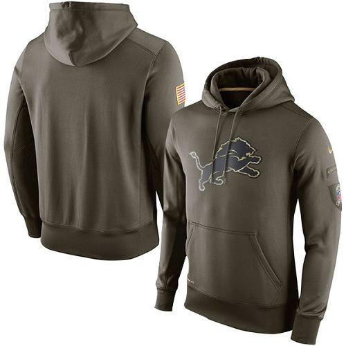 Men's Detroit Lions Nike Olive Salute To Service KO Performance Hoodie