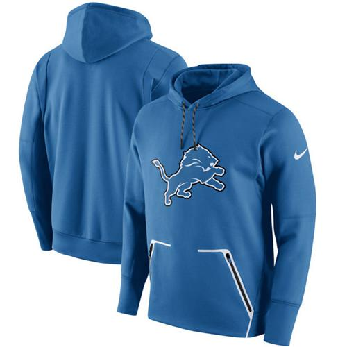 Men's Detroit Lions Nike Royal Champ Drive Vapor Speed Pullover Hoodie