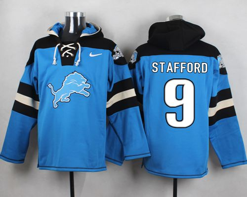 Nike Lions #9 Matthew Stafford Blue Player Pullover NFL Hoodie