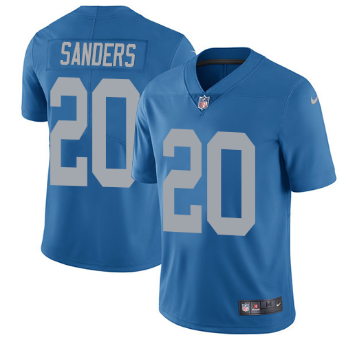 Nike Lions #20 Barry Sanders Blue Throwback Men's Stitched NFL Vapor Untouchable Limited Jersey