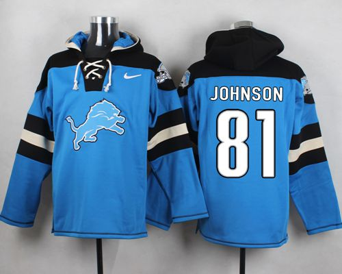 Nike Lions #81 Calvin Johnson Blue Player Pullover NFL Hoodie