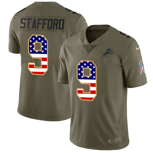 Nike Lions #9 Matthew Stafford Olive/USA Flag Men's Stitched NFL Limited Salute To Service Jersey