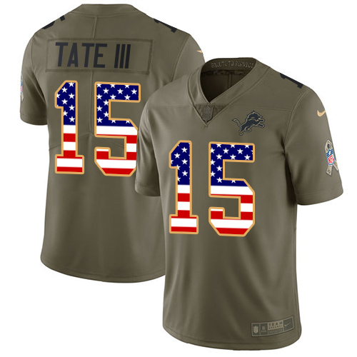 Nike Lions #15 Golden Tate III Olive/USA Flag Men's Stitched NFL Limited Salute To Service Jersey