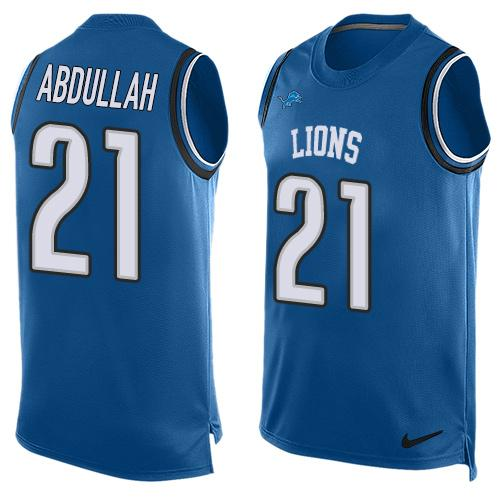 Nike Lions #21 Ameer Abdullah Blue Team Color Men's Stitched NFL Limited Tank Top Jersey