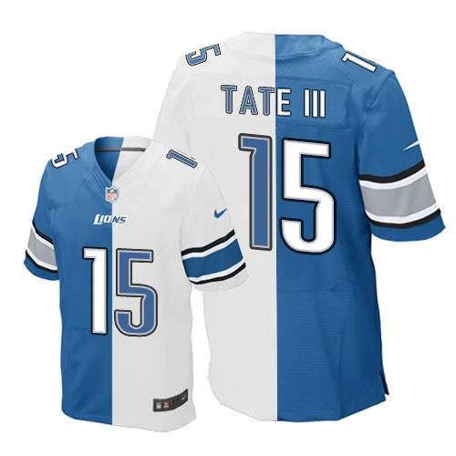 Nike Lions #15 Golden Tate III Blue/White Men's Stitched NFL Elite Split Jersey