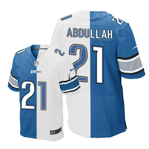 Nike Lions #21 Ameer Abdullah Blue/White Men's Stitched NFL Elite Split Jersey