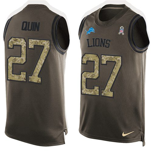 Nike Lions #27 Glover Quin Green Men's Stitched NFL Limited Salute To Service Tank Top Jersey