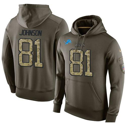 NFL Men's Nike Detroit Lions #81 Calvin Johnson Stitched Green Olive Salute To Service KO Performance Hoodie