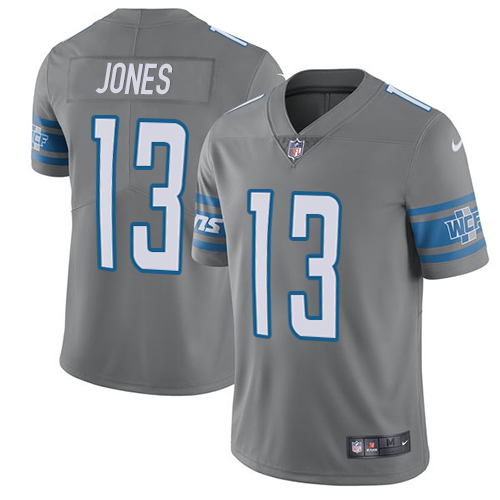 Nike Lions #13 T.J. Jones Gray Men's Stitched NFL Limited Rush Jersey