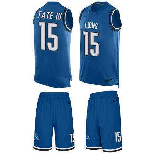 Nike Lions #15 Golden Tate III Blue Team Color Men's Stitched NFL Limited Tank Top Suit Jersey