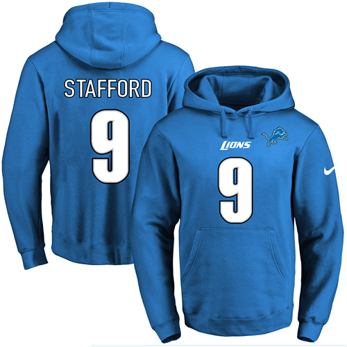Nike Lions #9 Matthew Stafford Blue Name & Number Pullover NFL Hoodie