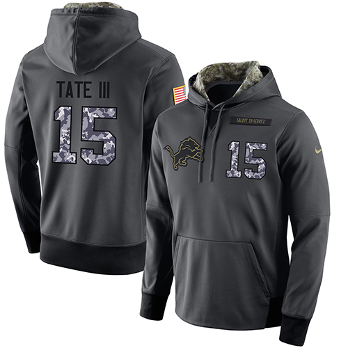 NFL Men's Nike Detroit Lions #15 Golden Tate III Stitched Black Anthracite Salute to Service Player Performance Hoodie
