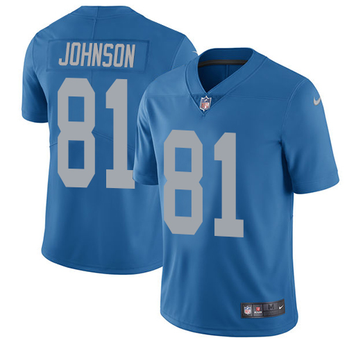 Nike Lions #81 Calvin Johnson Blue Throwback Men's Stitched NFL Vapor Untouchable Limited Jersey