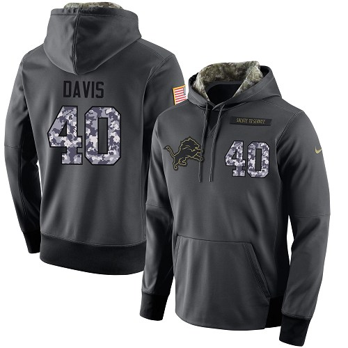 NFL Men's Nike Detroit Lions #40 Jarrad Davis Stitched Black Anthracite Salute to Service Player Performance Hoodie