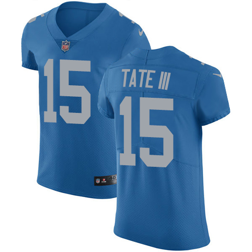 Nike Lions #15 Golden Tate III Blue Throwback Men's Stitched NFL Vapor Untouchable Elite Jersey