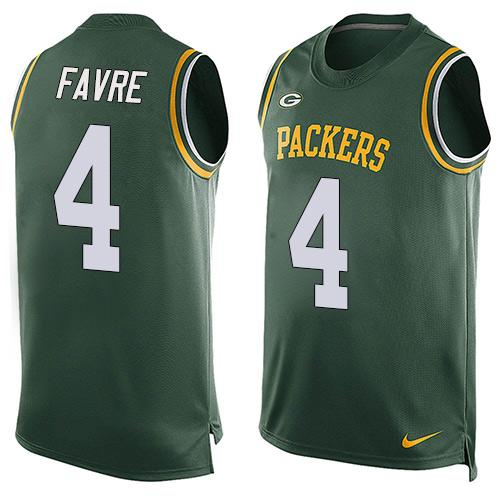 Nike Packers #4 Brett Favre Green Team Color Men's Stitched NFL Limited Tank Top Jersey