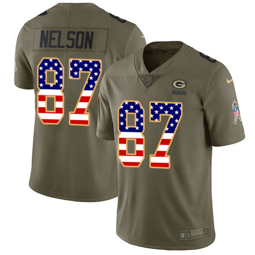 Nike Packers #87 Jordy Nelson Olive/USA Flag Men's Stitched NFL Limited Salute To Service Jersey
