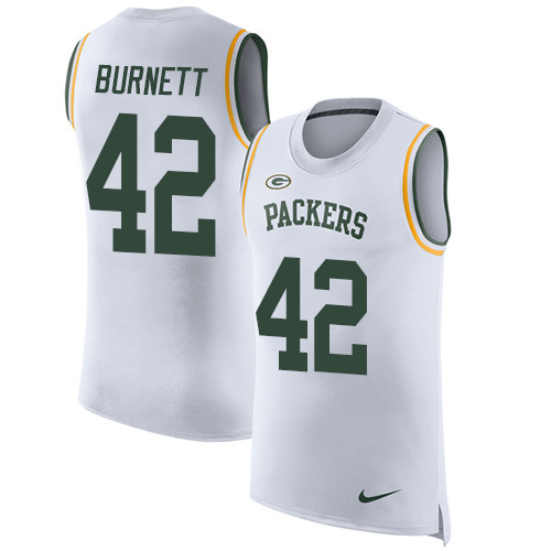 Nike Packers #42 Morgan Burnett White Men's Stitched NFL Limited Rush Tank Top Jersey