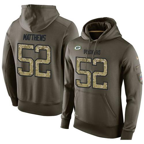 NFL Men's Nike Green Bay Packers #52 Clay Matthews Stitched Green Olive Salute To Service KO Performance Hoodie