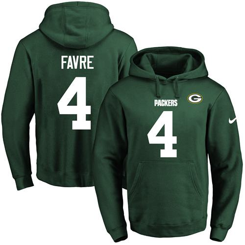 Nike Packers #4 Brett Favre Green Name & Number Pullover NFL Hoodie