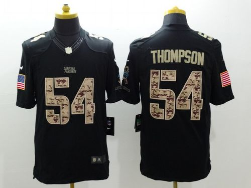Nike Panthers #54 Shaq Thompson Black Men's Stitched NFL Limited Salute to Service Jersey
