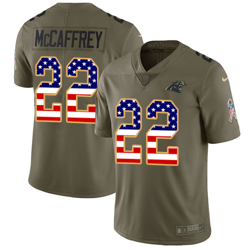 Nike Panthers #22 Christian McCaffrey Olive/USA Flag Men's Stitched NFL Limited Salute To Service Jersey