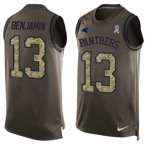 Nike Panthers #13 Kelvin Benjamin Green Men's Stitched NFL Limited Salute To Service Tank Top Jersey