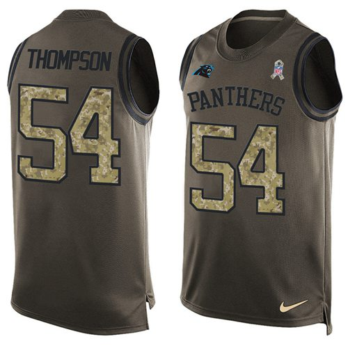 Nike Panthers #54 Shaq Thompson Green Men's Stitched NFL Limited Salute To Service Tank Top Jersey