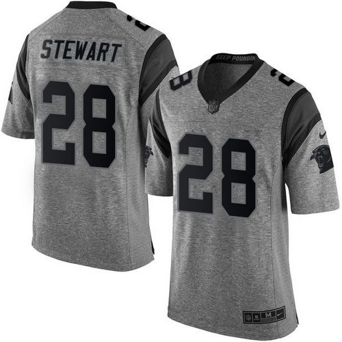 Nike Panthers #28 Jonathan Stewart Gray Men's Stitched NFL Limited Gridiron Gray Jersey