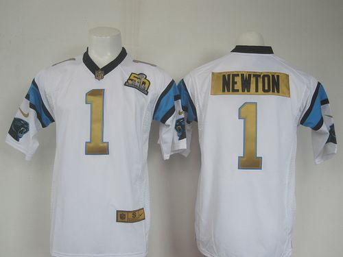 Nike Panthers #1 Cam Newton White Super Bowl 50 Collection Men's Stitched NFL Elite Jersey