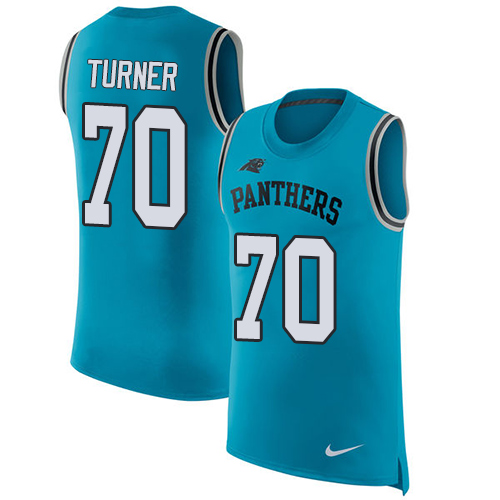 Nike Panthers #70 Trai Turner Blue Alternate Men's Stitched NFL Limited Rush Tank Top Jersey