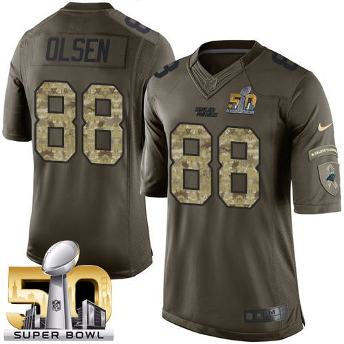 Nike Panthers #88 Greg Olsen Green Super Bowl 50 Men's Stitched NFL Limited Salute to Service Jersey