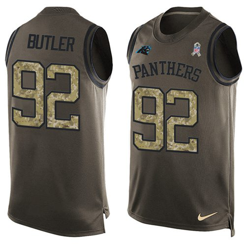 Nike Panthers #92 Vernon Butler Green Men's Stitched NFL Limited Salute To Service Tank Top Jersey
