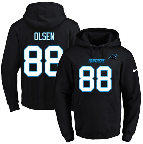 Nike Panthers #88 Greg Olsen Black Name & Number Pullover NFL Hoodie