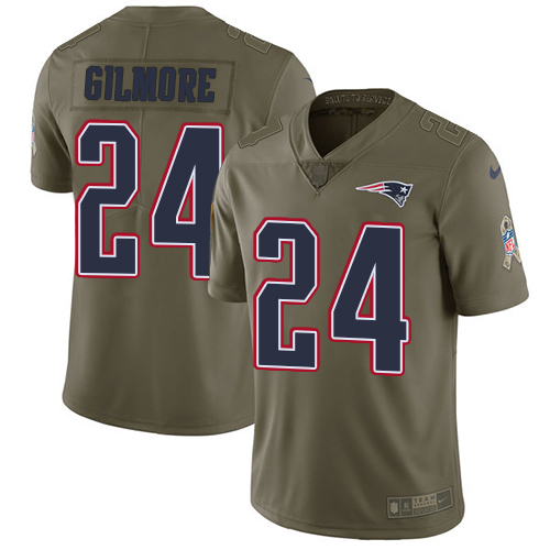 Nike Patriots #24 Stephon Gilmore Olive Men's Stitched NFL Limited Salute To Service Jersey