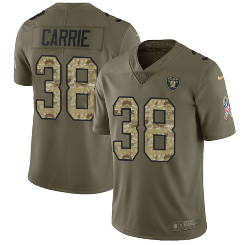 Nike Raiders #38 T.J. Carrie Olive/Camo Men's Stitched NFL Limited Salute To Service Jersey