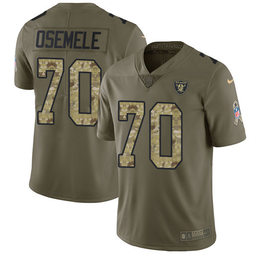 Nike Raiders #70 Kelechi Osemele Olive/Camo Men's Stitched NFL Limited Salute To Service Jersey