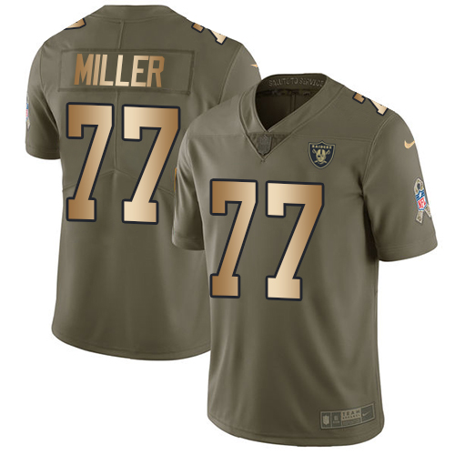 Nike Raiders #77 Kolton Miller Olive/Gold Men's Stitched NFL Limited Salute To Service Jersey