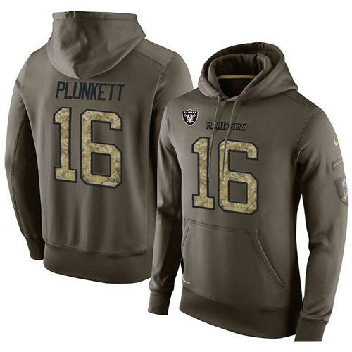 NFL Men's Nike Oakland Raiders #16 Jim Plunkett Stitched Green Olive Salute To Service KO Performance Hoodie